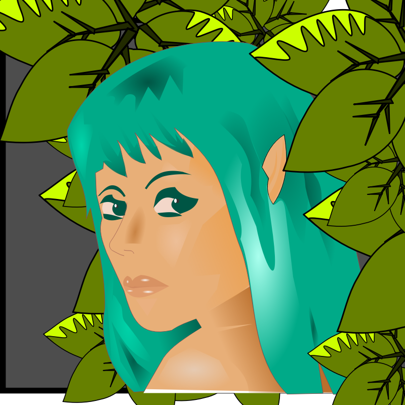 elf woman in leaves by Peileppe - An elf looking out from the leaves
