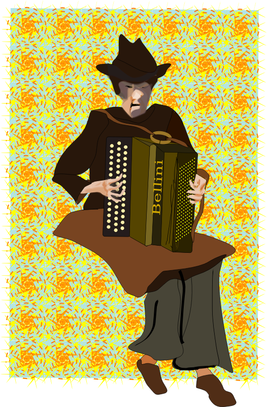 Accordion Player by Reedabadeeda - A person playing accordion with repeating background.