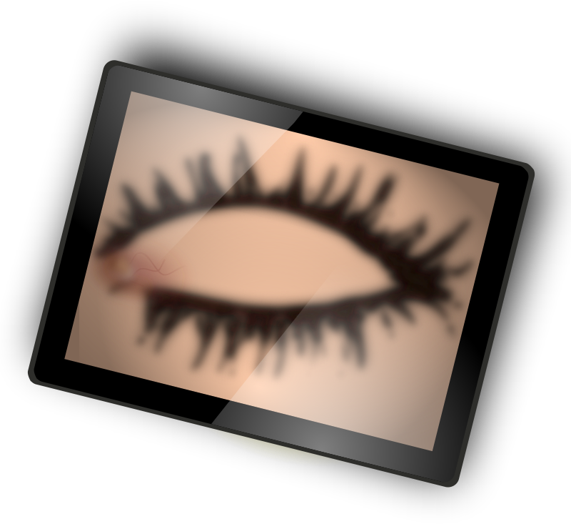 A Closed Eye on Tablet by rosfan - A closed iey on a tablet blurry.