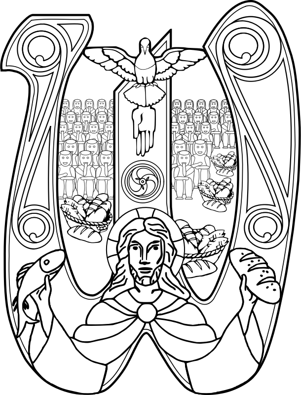 Christ with a Fish and Bread Symbol by TrnsltLife - A black and white image of christ with fish and bread.