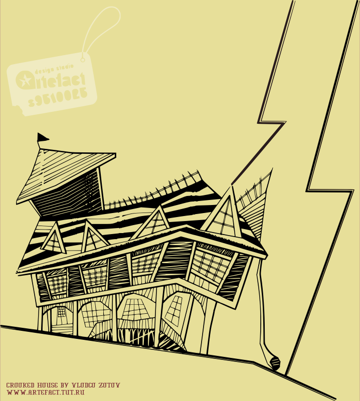 A Crooked House on Tan Paper by vlodco_zotov - The crooked house on tan paper.
