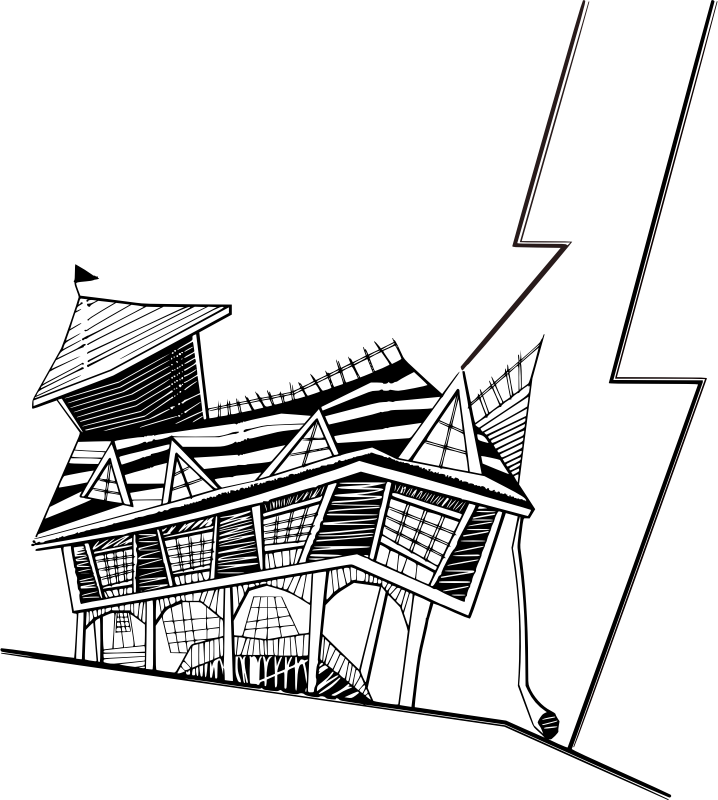 Basic Crooked House by vlodco_zotov - A crooked house and drawing style, all in black and white.