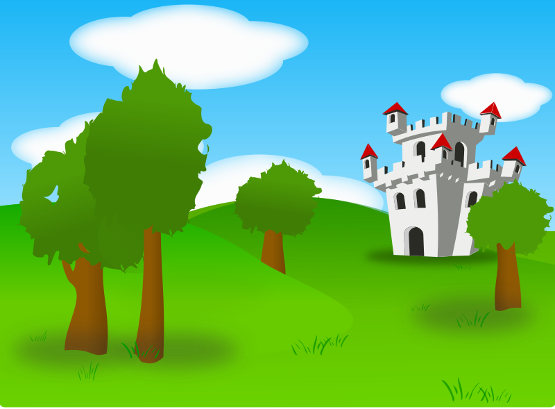"Castle by Peileppe - A small castle (from ibinbin) from which i removed the stroke, into carlitos's landscape in which i added, and modified trees - i also add a path to the castle in which i tested the new texture ""sand"" from inkscape 0.46"