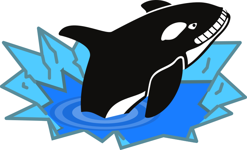 Evil Orca Cartoon Looking and Smiling with teeth by qubodup - big orca smiling sadistically at a penguin perhaps.
