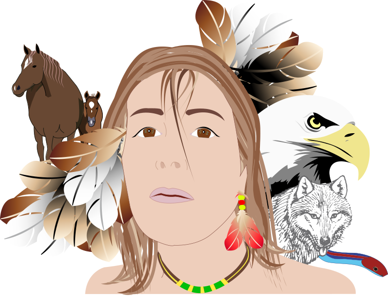 Indian by presquesage - Indian, wolf, eagle, horse, snake, feathers, indienne; loup, aigle, cheval, serpent, plumes,