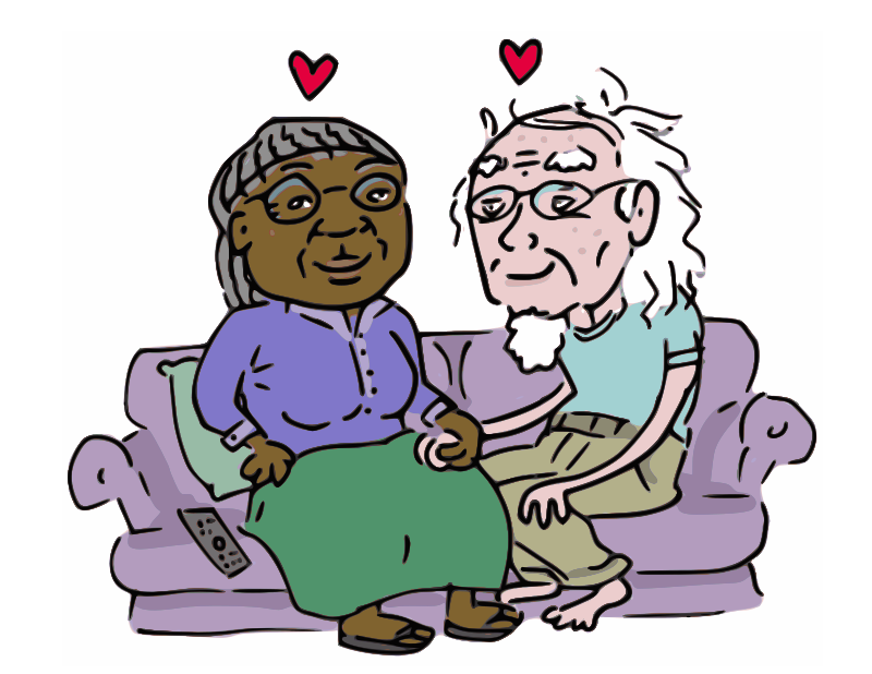 Growing Old Together by Bob the Hamster - An elderly couple sits on the couch together, thinking about how much they still love one another after all these years.
