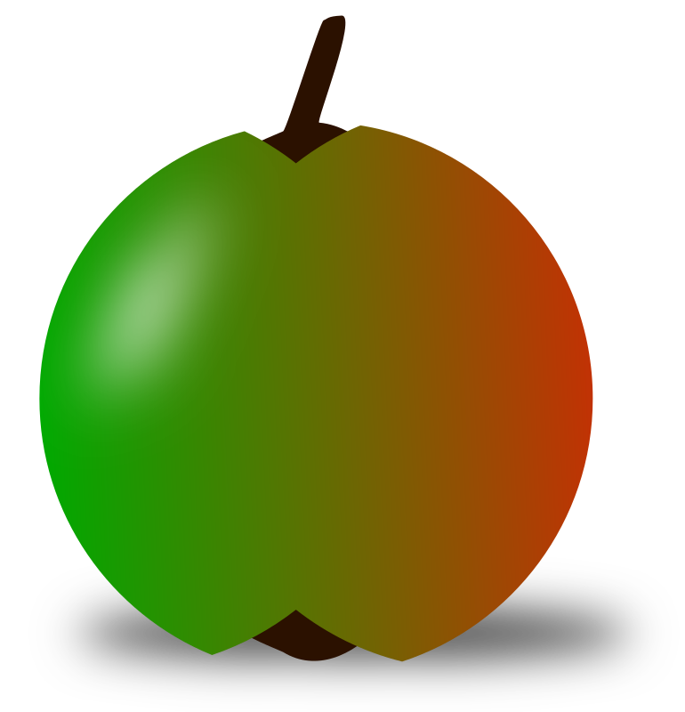 Clipart - red and green apple