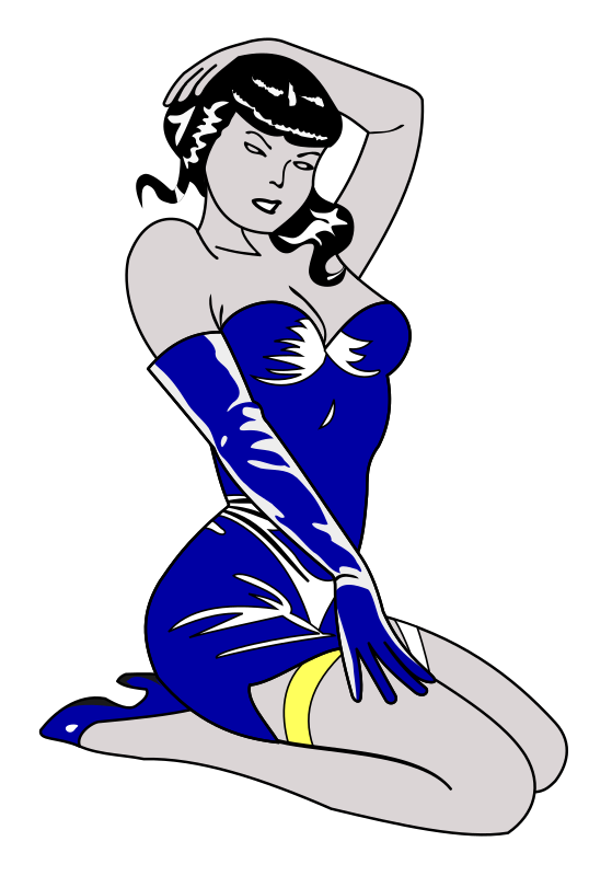 Pin-up blue by liftarn - Pin-up girl in blue dress.