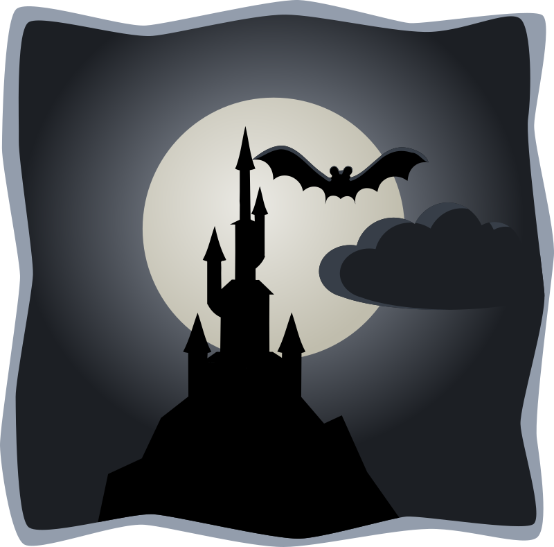 Spooky castle in full moon by lemmling -