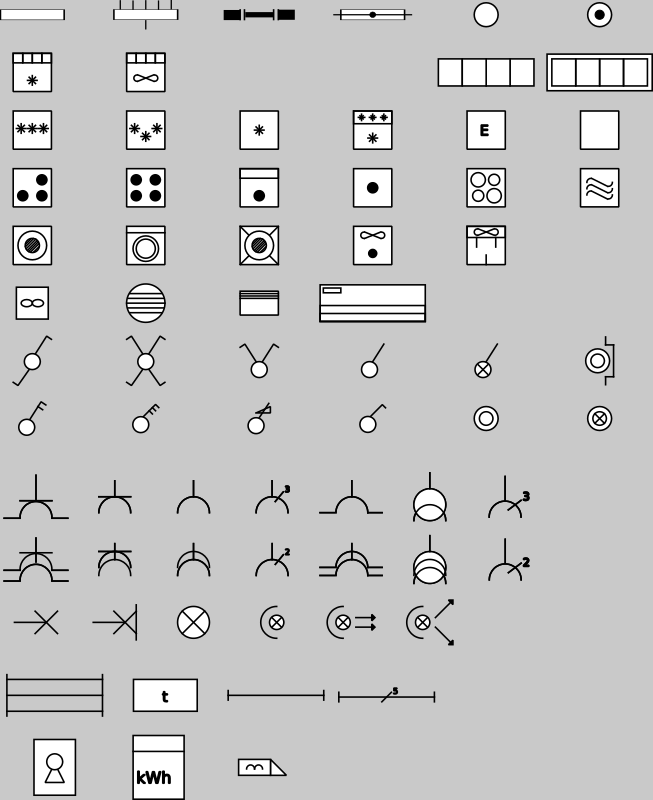 "Domestic Electric Symbols (RGIE - AREI) by berteh - <p>RGIE / AREI like symbols for domestic electricity. </p> <p>legend: <a href=""http://www.livios.be/pdf/AREI-symbols-fr.pdf"">http://www.livios.be/pdf/AREI"