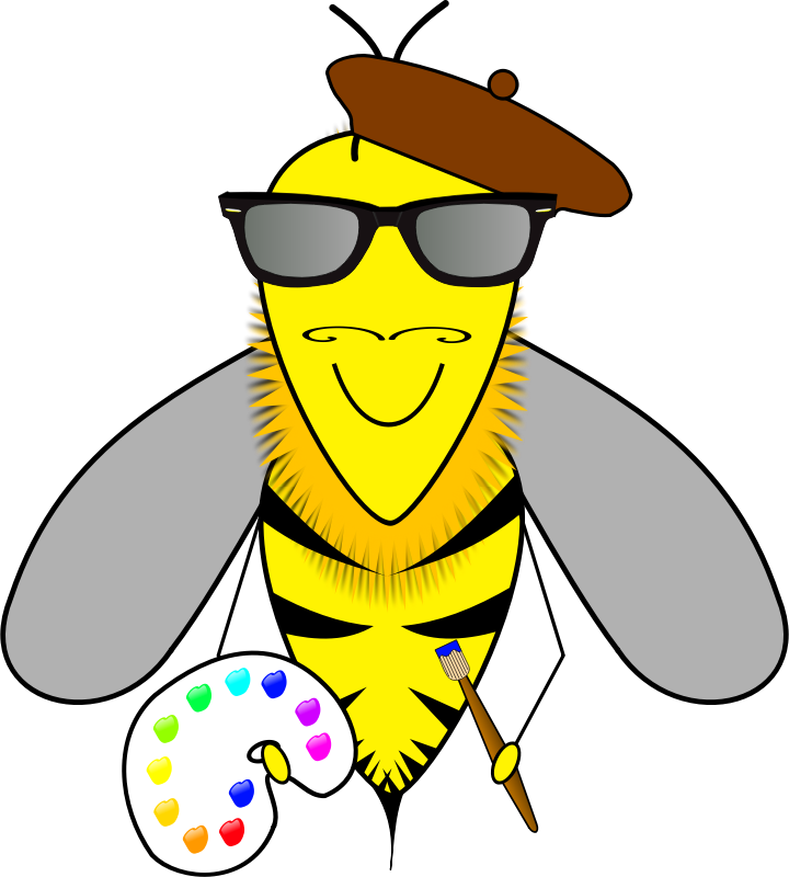 Hipster bee artist by jesseakc - A hipster artist bee.