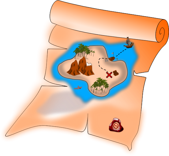 Treasure map by Eypros - A pirates' treasure map with treasure chest, ship, rowboat, shark, palm trees etc