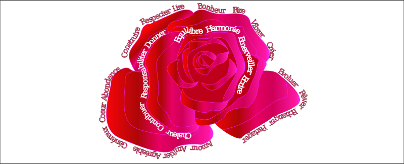 Words in pink by presquesage - Words written around a pink rose.