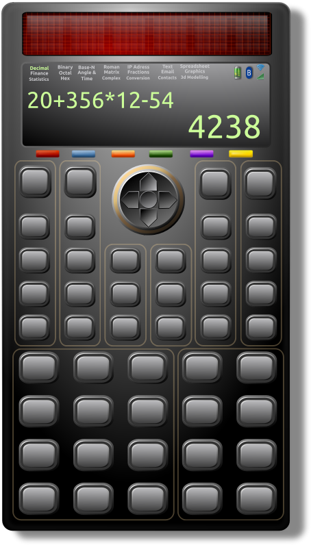 Scientific Solar Calculator 1 by Merlin2525 - My remix of a Futuristic Calculator. Thanks go to the following Open Clip Art Artist: Mathafix for calculatrice.svg, Ilnanny for the battery 1329015443.svg, Bnsonger47 for WirelessIcons.svg