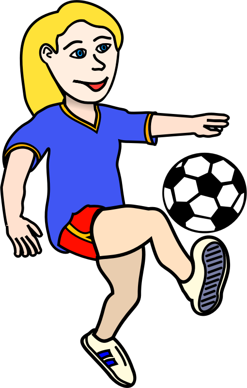 Soccer playing girl coloured  by dkdlv - Remix from Soccer playing boy coloured uploaded by Frankes, converted in a girl