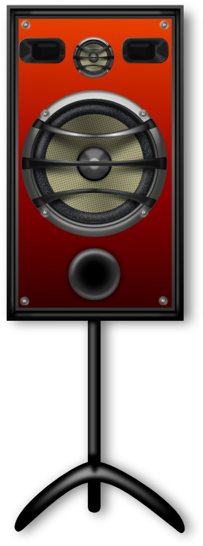 Studio Speaker 2 Orange Grill by Merlin2525 - NOTE: USE INKSCAPE TO GENERATE THE PNG FILE. IN INKSCAPE, UNDER THE FILE MENU CHOOSE THE EXPORT OPTION. Studio Speaker with an orange speaker grill and a stand.