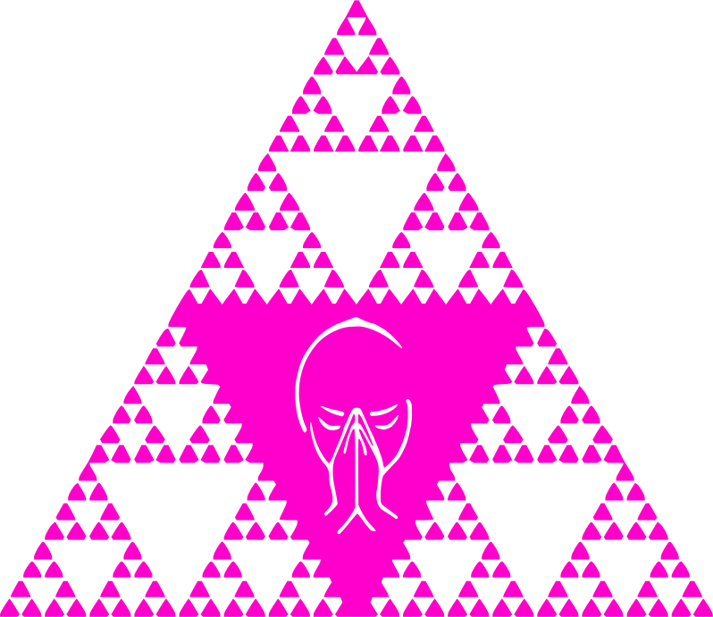 Serpinski triangle by dibargatin - A pink sierpinski triangle with a person praying in the middle.