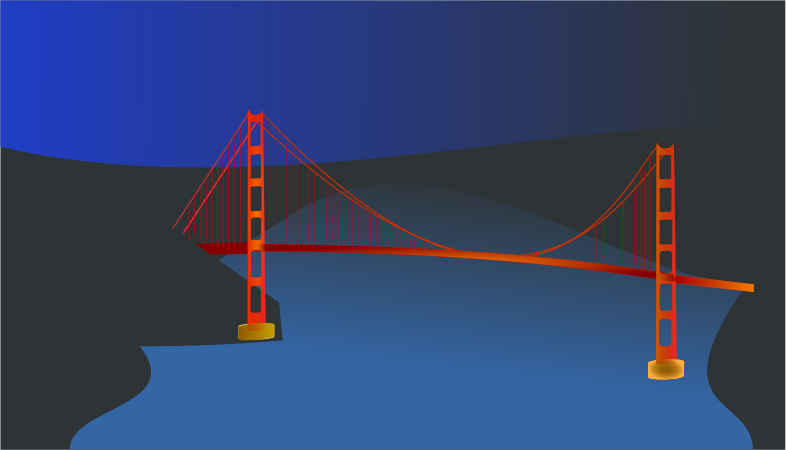 Golden Gate bridge by night by chatard - The San Fransisco suspension bridge.