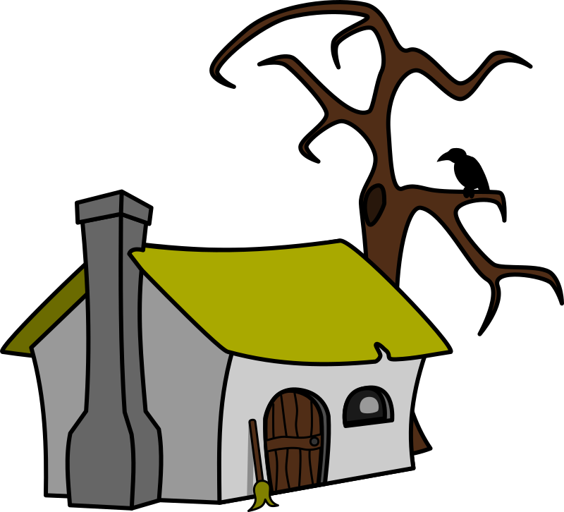 Witch's cottage by lemmling - Witch's cottage with a crow on a tree.