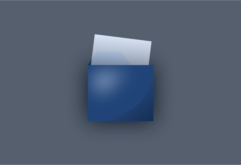 Blue UI folder by inkscaper - A computer icon of a folder with a paper in it