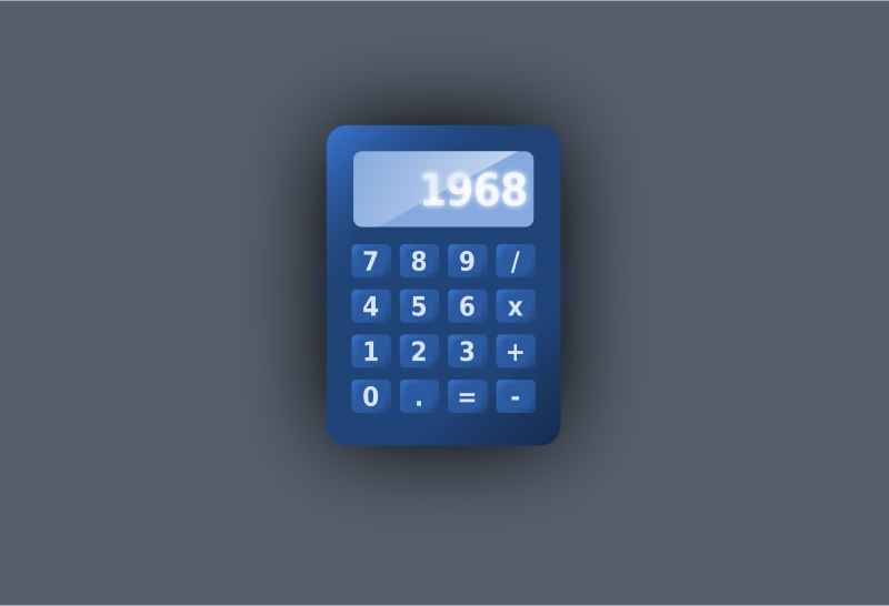 Blue UI calculator by inkscaper - A blue calculator as if on a desktop or as a widget.
