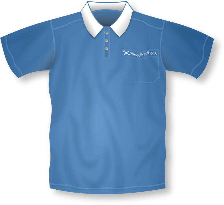 Blue Polo Shirt Remix by Merlin2525 - A remix of Nicubunu's Polo Shirt Template clipart. Thanks also go to Ryan_S Shirt Button found at https://openclipart.org/people/ryan_s/shirt_button.svg   Added gradients, wrinkles, a pocket and a wavy openclipart logo to the shirt's pocket. Drawn with Inkscape. NOTE: USE INKSCAPE TO GENERATE A CORRECT PNG VERSION OF THIS IMAGE.