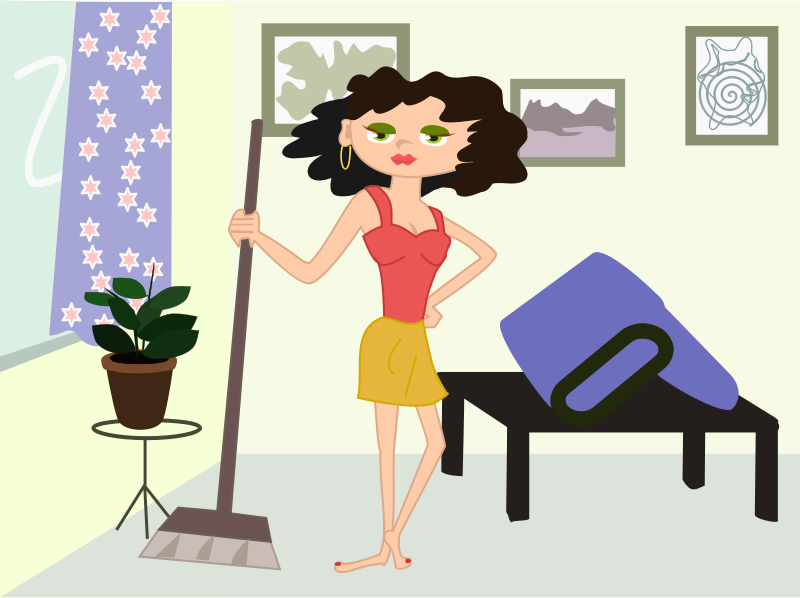 apartment cleaning cartoon by OlKu - apartment, cleaning, cartoon, girl, mopping, sweaping