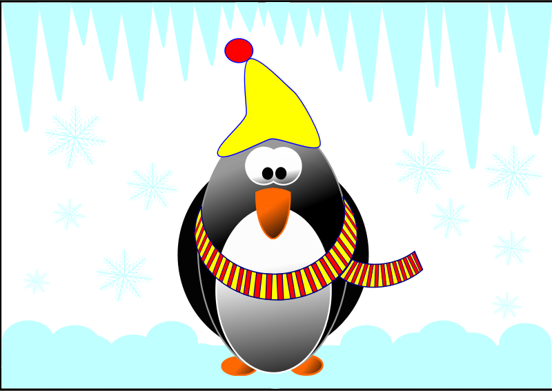 Pinguin in the winter by Andulka1 - My first job in Inkscape.