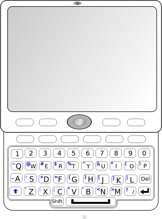 QWERTY Slider Phone by Andrew_R_Thomas - Basic QWERTY phone with slider keyboard open.
