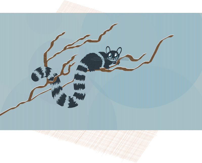 Raring Ringtail remix by Last-Dino - A Raring Ringtail cat perched on a branch. This cuddly little guy just wants you to take him home! Desktop background. Enjoy! This version has a greater variety of subtle texture.