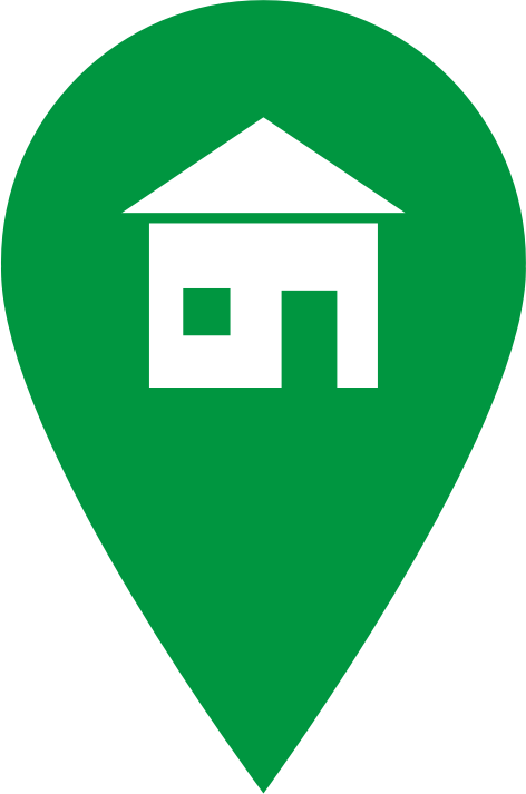 Green Home Icon by J32 - A green icon shaped like a location pointer, with a house symbol. The icon could be used as a location pointer, a home icon or an icon with a different symbol.