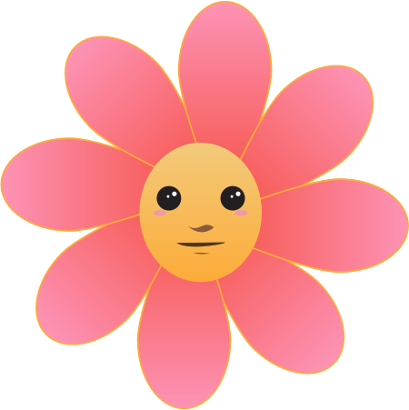 Single Cartoon Flowers With Faces