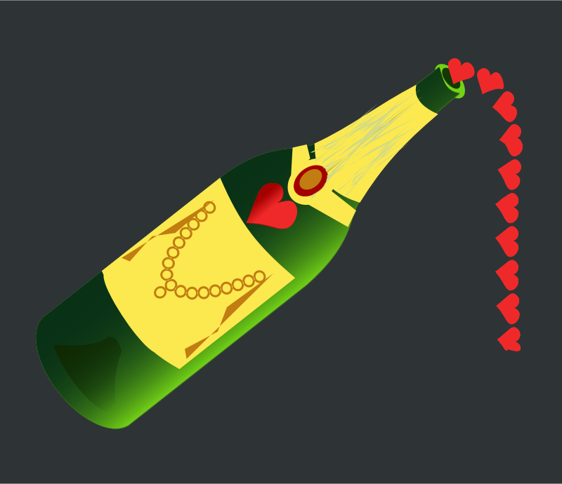 Champagne - for Major events by chatard - Champagne bottle pouring hearts for celebrations