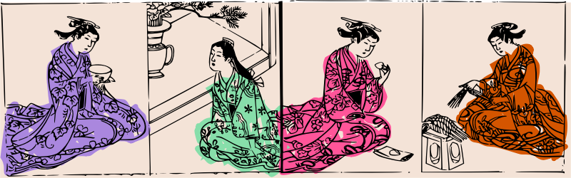 Four Kimono Ladies - colour by j4p4n - This was originally black and white. I'm not sure if I made the write choice, but I felt like it looked better with haphazard colour scribbled on the kimonos. I'm not sure why I thought that, but I did!