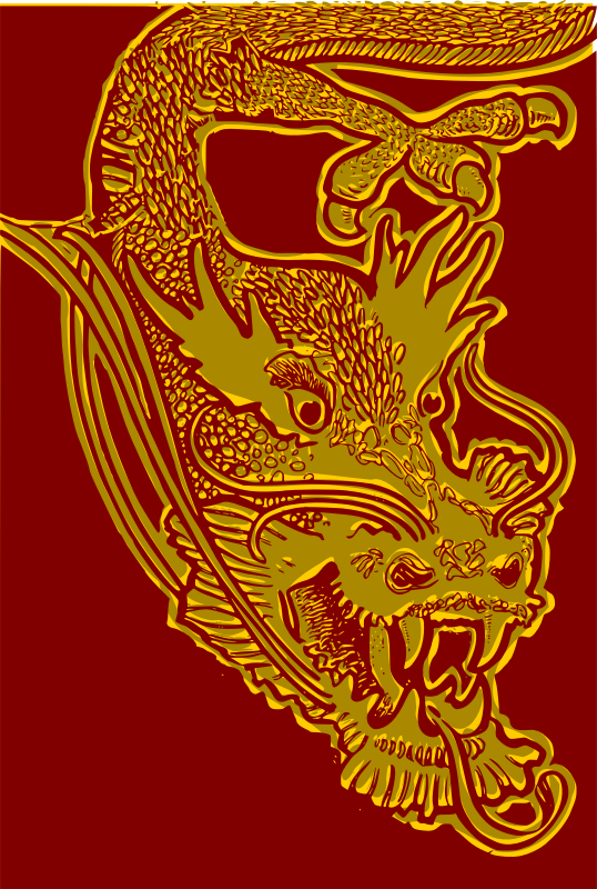 Chinese Dragon Head - red & yellow by j4p4n