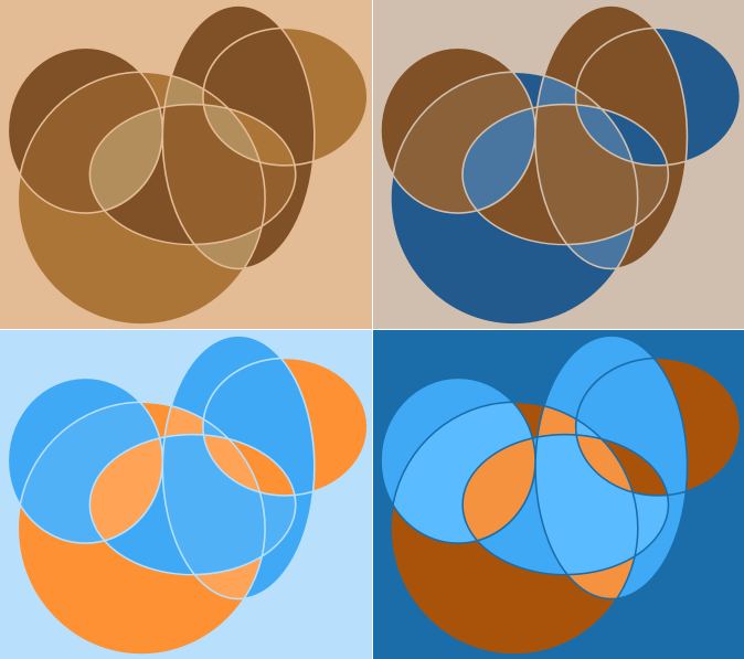 Abstract geometric circle compositions by intergrapher - A series of four compositions in orange blue and brown using ovals and circles
