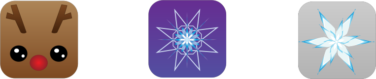 Square Christmas Icons by intergrapher - Reindeer, snowflake, star