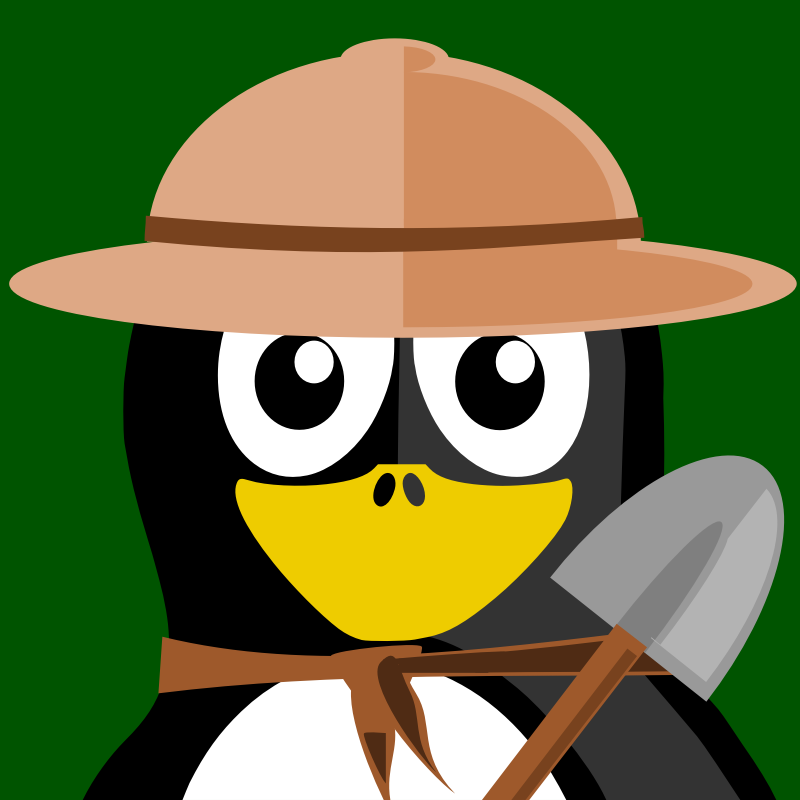 archeologist penguin by BartM - A penguin in an outfit reminds us of tux from Linux fame.
