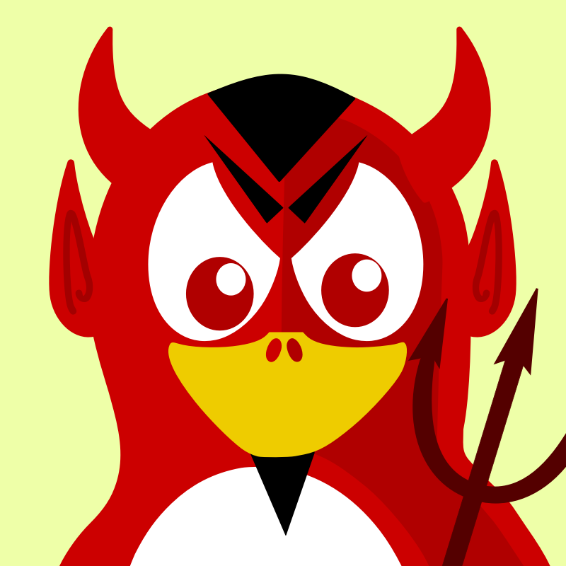 devil penguin by BartM - A penguin in an outfit reminds us of tux from Linux fame.