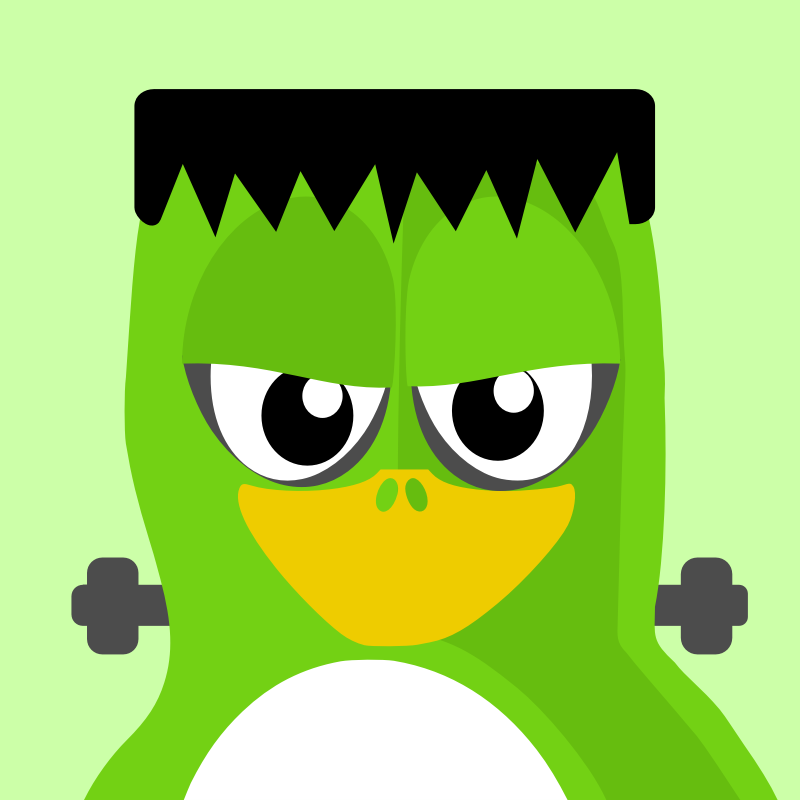 frankentux penguin by BartM - A penguin in an outfit reminds us of tux from Linux fame.