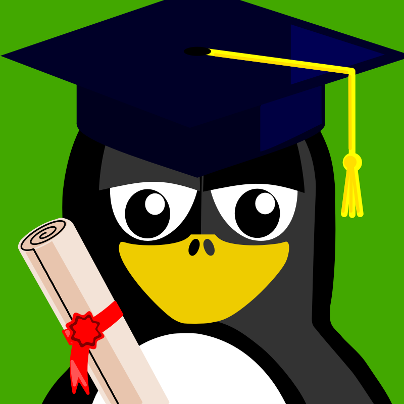 graduation penguin by BartM - A penguin in an outfit reminds us of tux from Linux fame.
