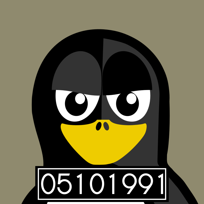 mugshot penguin by BartM - A penguin in an outfit reminds us of tux from Linux fame.