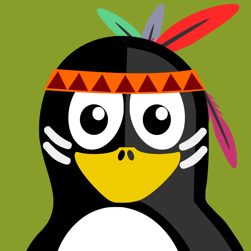 native american penguin by BartM - A penguin in an outfit reminds us of tux from Linux fame.