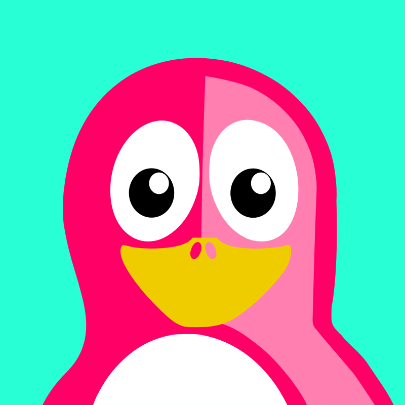 pink penguin by BartM - A penguin in an outfit reminds us of tux from Linux fame.