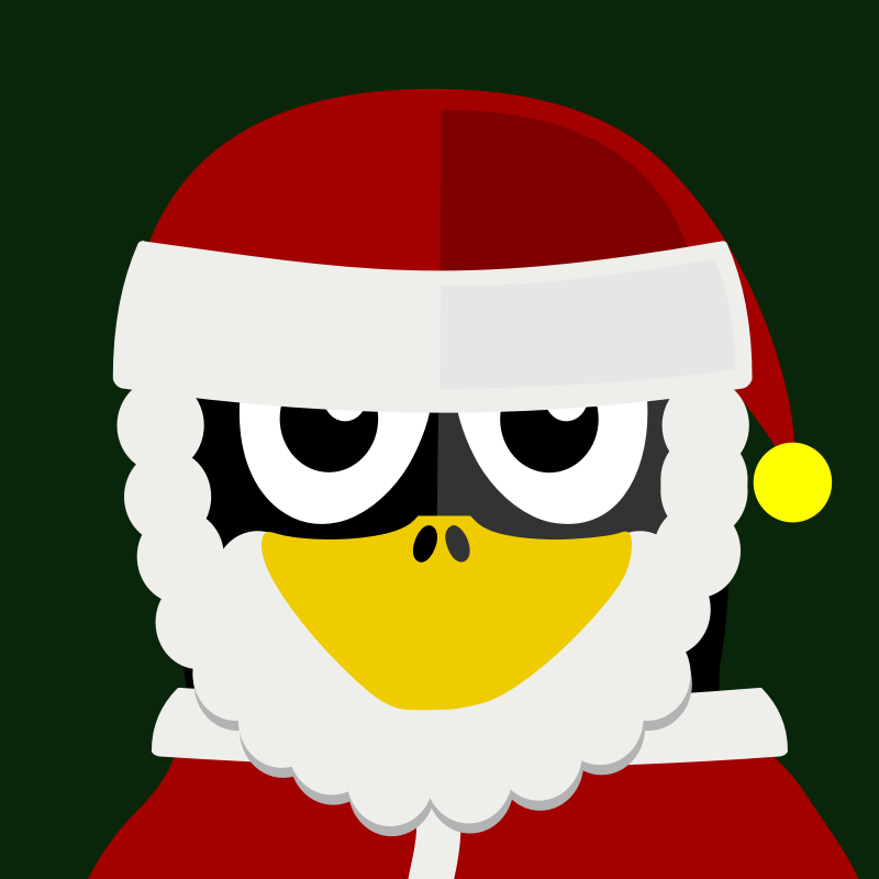santa penguin by BartM - A penguin in an outfit reminds us of tux from Linux fame.