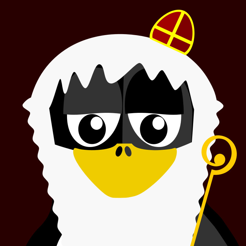 saint fun penguin by BartM - A penguin in an outfit reminds us of tux from Linux fame.