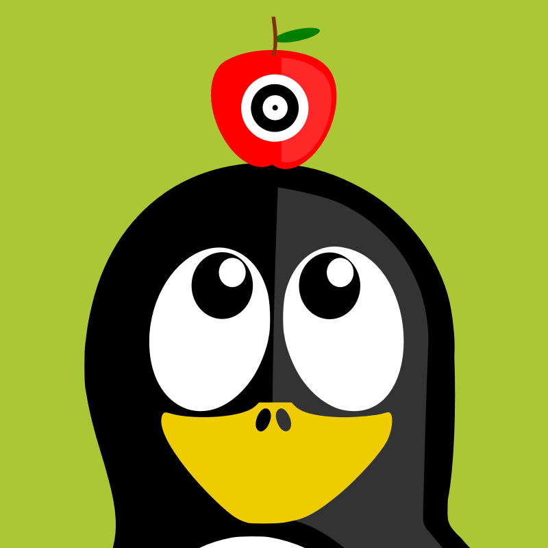 "william tell by BartM - A penguin with an apple on its head doing ""william tell"""