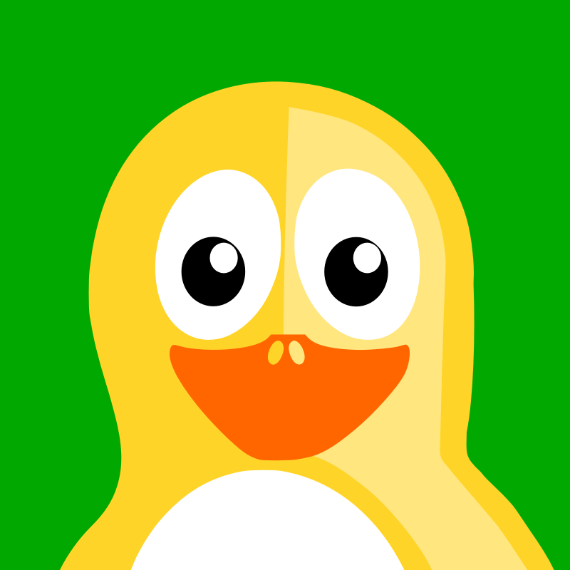 Yellow Penguin by BartM - Yellow penguin over green background
