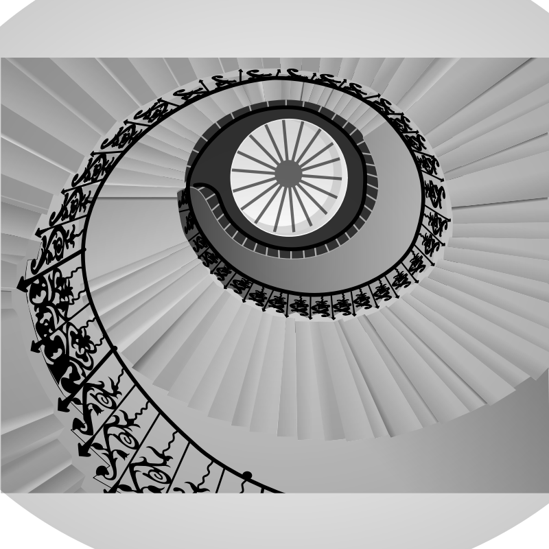 Spiral staircase by Gespenst - Spiral staircase in grayscale