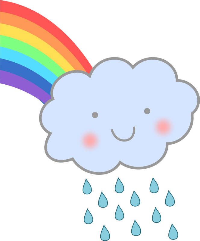 Cute Rain Cloud with Rainbow by uroesch